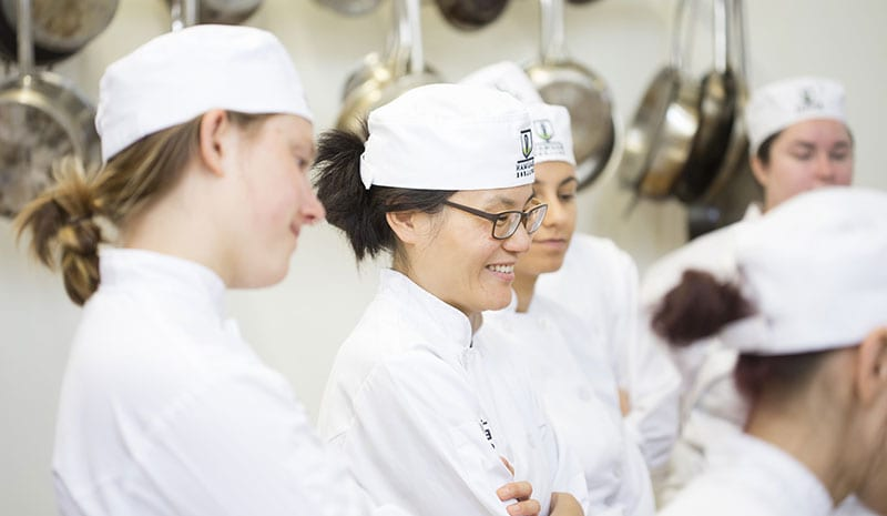 Chef students watching a demonstration