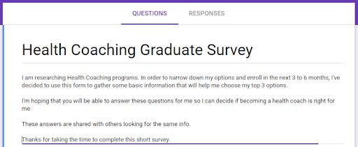 compare health coaching programs - graduate survey