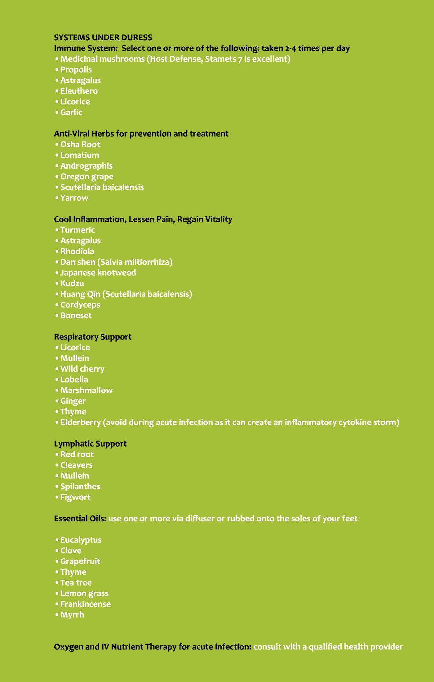 Natural Health Remedies List - 031320 - Dr Ed Bauman