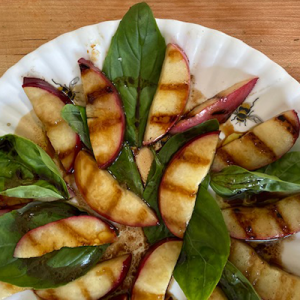 Grilled Nectarines with Basil