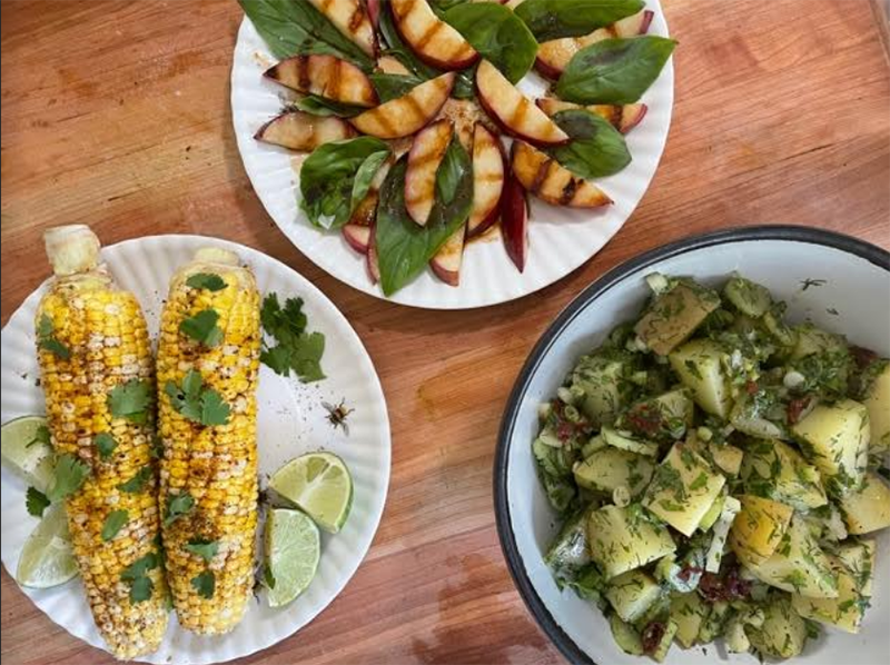 Summer Grilling Recipes | Grilled Corn with Chili-Lime Rub, Grilled Nectarines with Basil & Herb Potato Salad