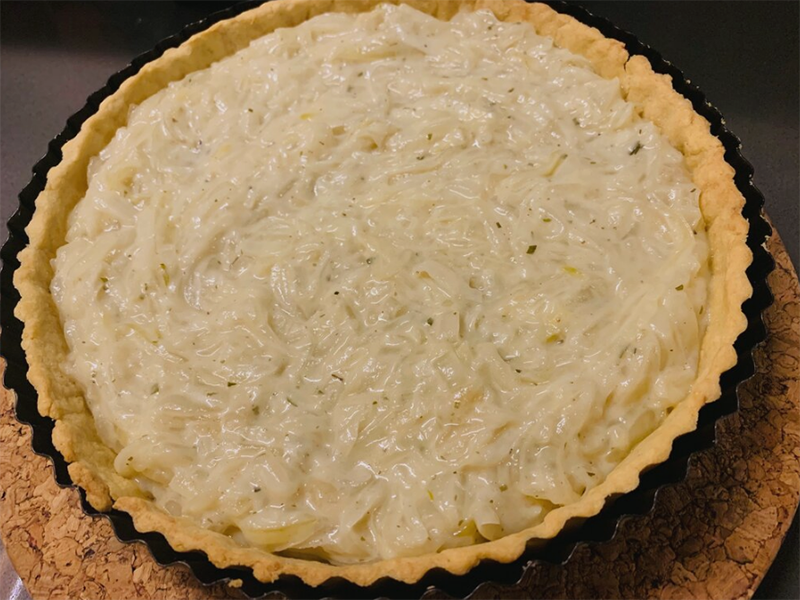 Caramelized Onion and Brown Butter Tart by Chef Lizette Marx, Holistic Chef Instructor at Bauman College